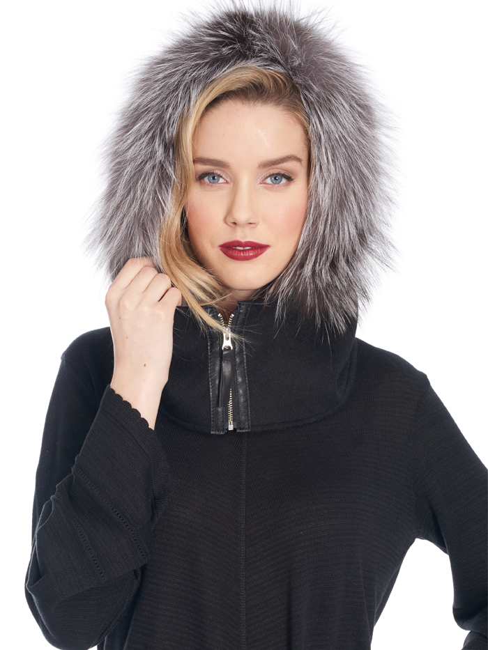 double face cashmere hood trim fox