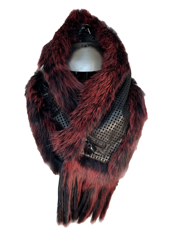 Reversible velvet side scarf / Fox-trimmed leather side scarf