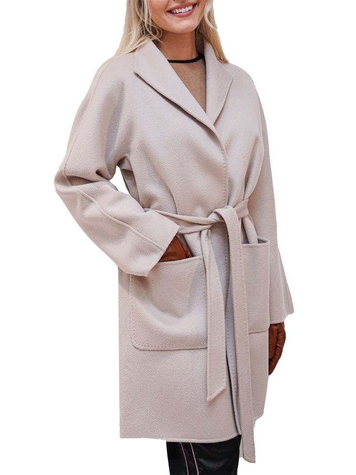 Cashmere coat with non double belt
