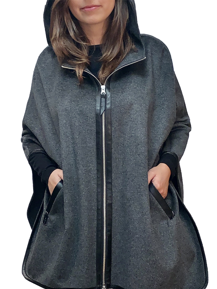 "29"" cashmere cape with hood"