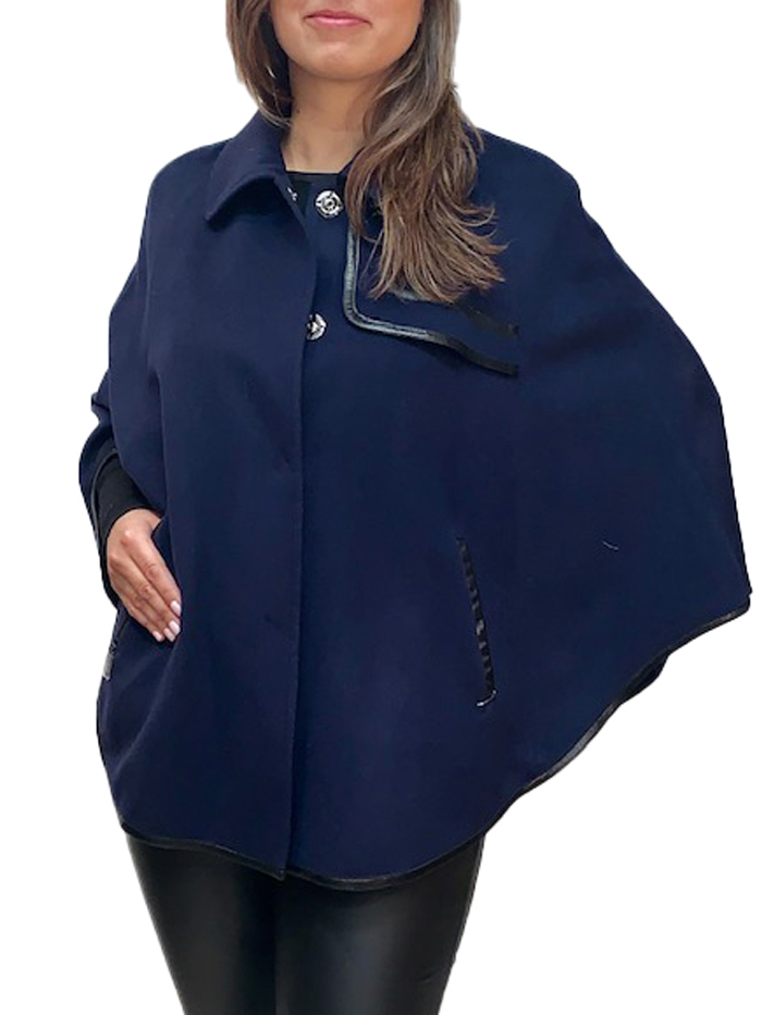 "26"" Cashmere cape with leather"