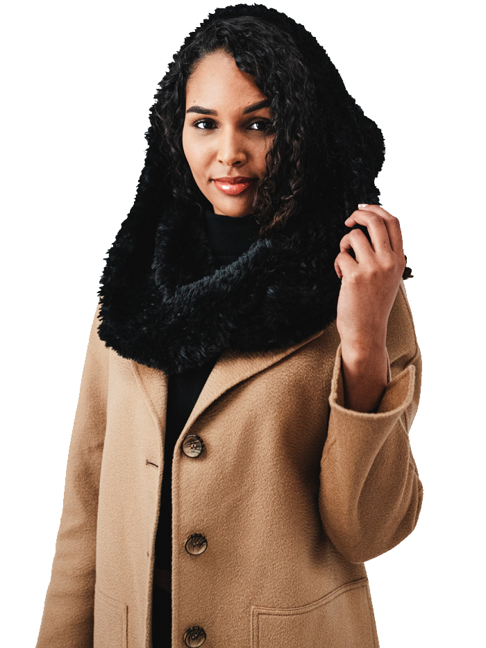 Faux Fur Hood with Scarf attach