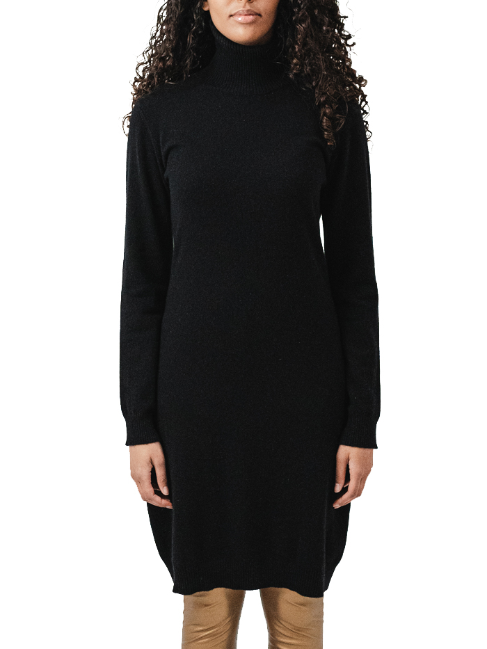 100% cashmere turtle neck dress