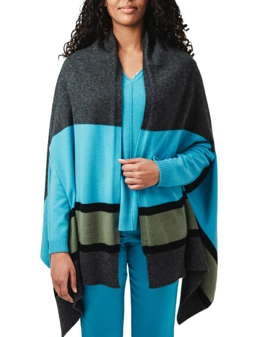 100% Cashmere shawl with opening 3 colors