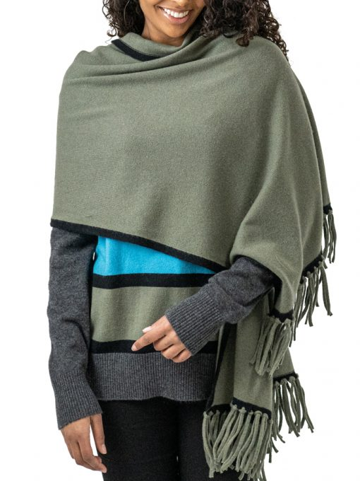 100% Cashmere 2 colors scarf with frindges at the end